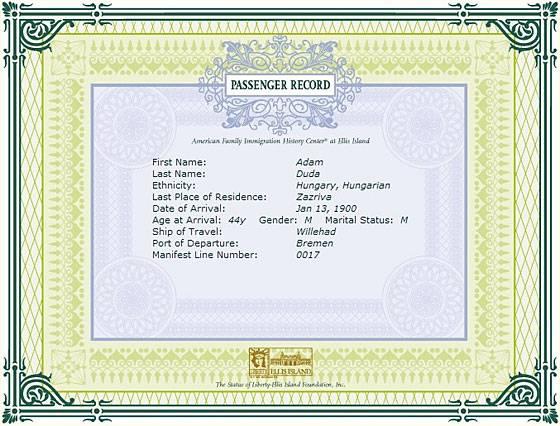 Ukážka registrácie Adama Duda zo Zázrivej v USA.